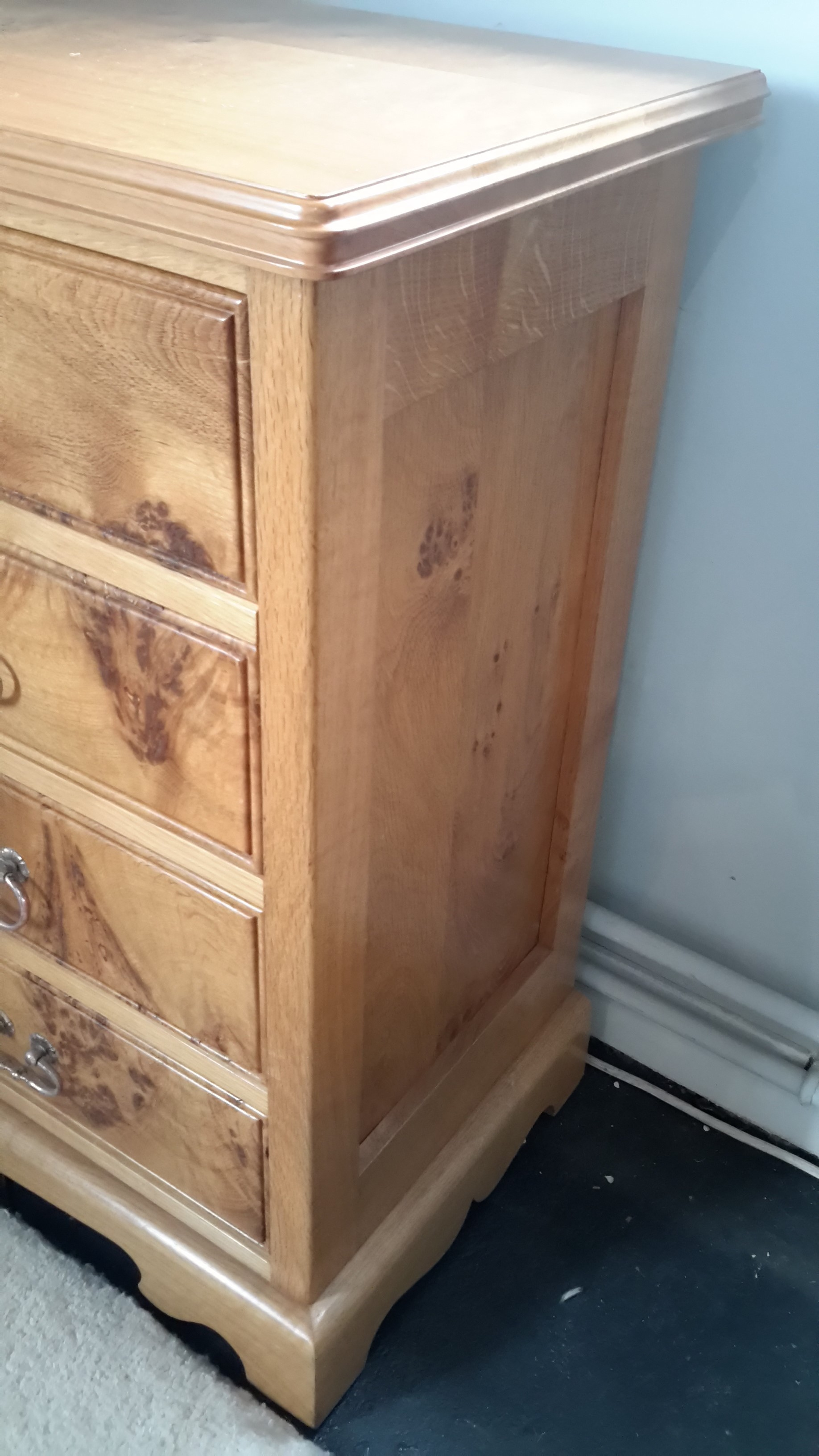 Stunning English Burr Oak Chest Of Drawers And Bookcase